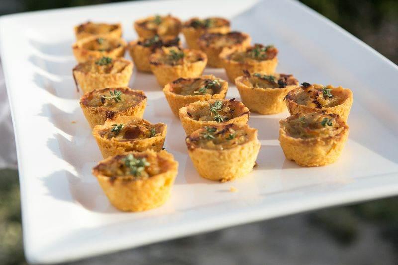 zest catering onion confit tarts